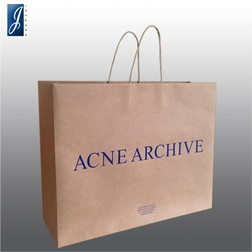 Customized big brown kraft shopping bag for ACNE