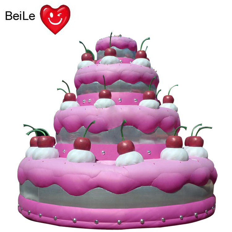 Customized advertising PINK inflatable birthday cake