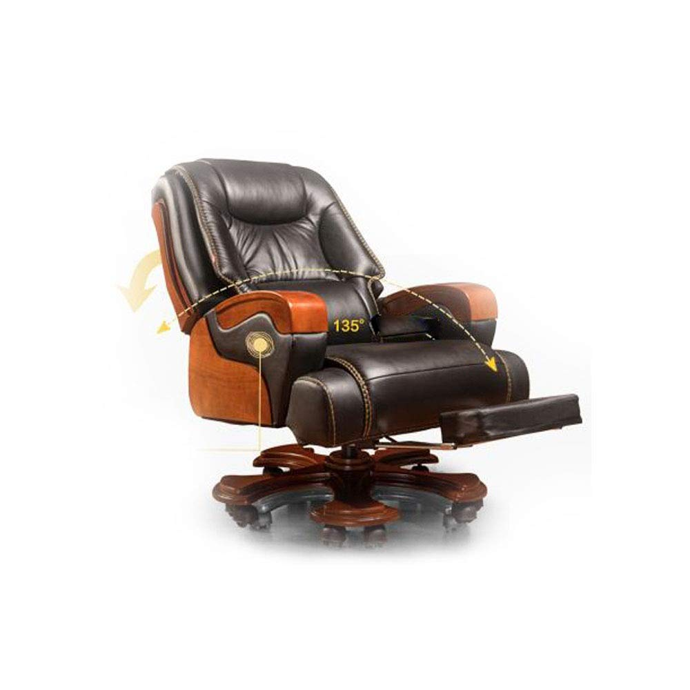 Office Chair Leather Home Executive Chair Seat Reclining Massage Business Solid Wood Turn Chair Leat