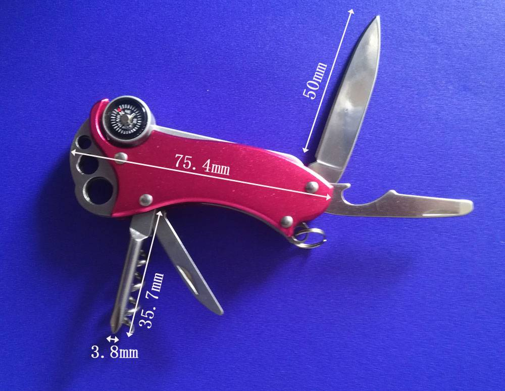 Multifunctional outdoor Tool with knife,Compass,Screwdriver, Opener for Out Door Activities
