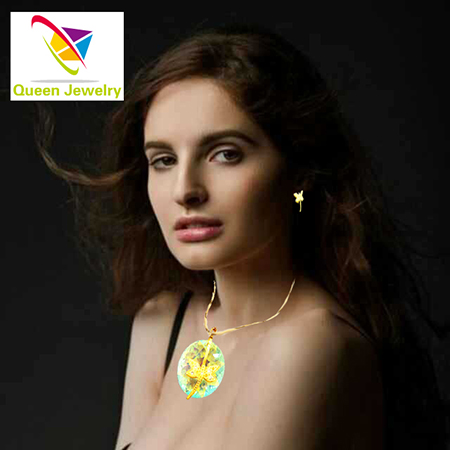 Moon phase jewelry Gold-Color dragonfly with Round colored zircon Pendant Earring Fashion necklace