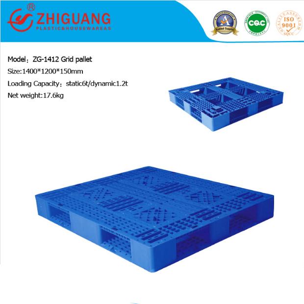 Grid Double Sides Heavy Deck Rackable Plastic Pallet (ZG-1412)