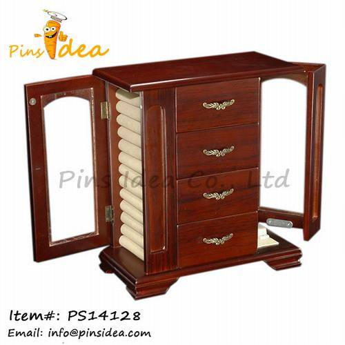 Wooden Jewelry Cabinet with Necklace Hooks Ring Rolls, Velvet Lining Great Gift for Wemen and Men