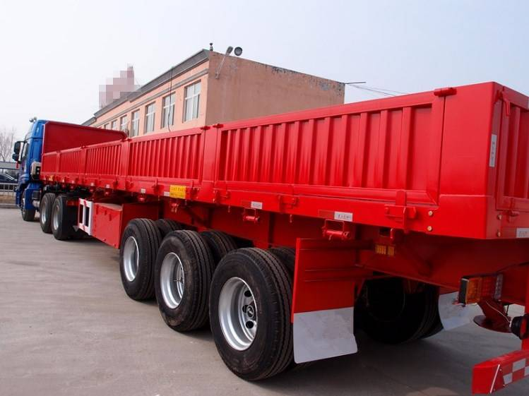 3 Axle Platform Drop Curtain Side Wall Open Sidewall Semi Trailer with Rear Door