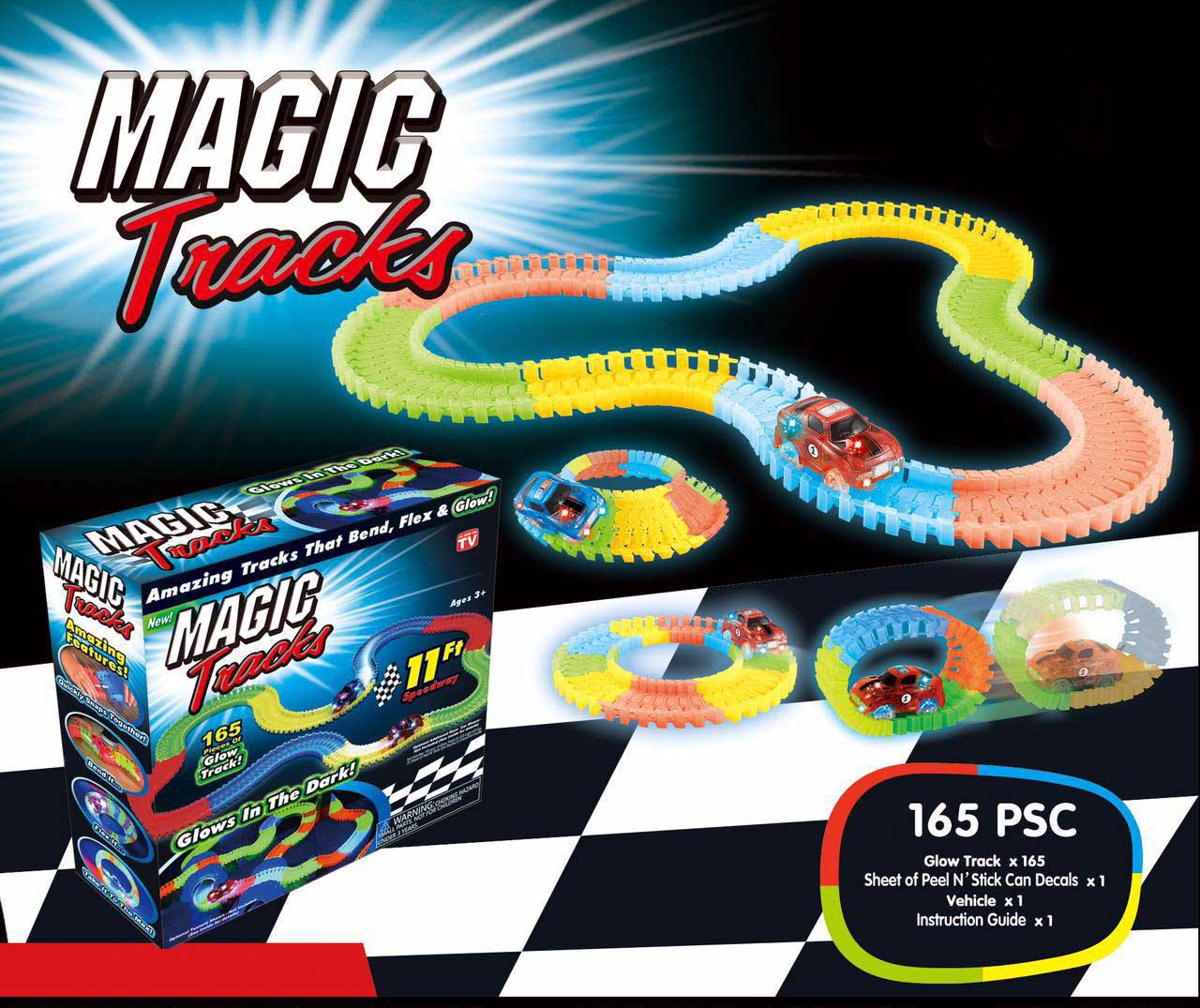 Rail Stunt Car Neon Glow in the Dark 165 Piece of Flexible Assembly Track Race Series