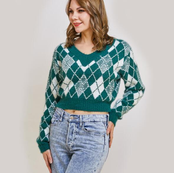 ZXX-21036 Ladies Sweater Pullovers Crop Top