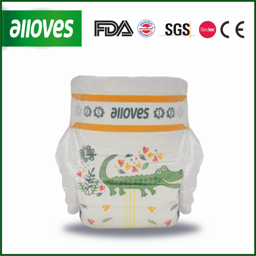 Alloves Baby disposable diapers high quality nappies for babies crocodiles printed