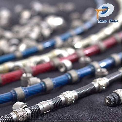 diamond wire saw with 37 beads 8.8mm diameter for granite profiling rubber sintered