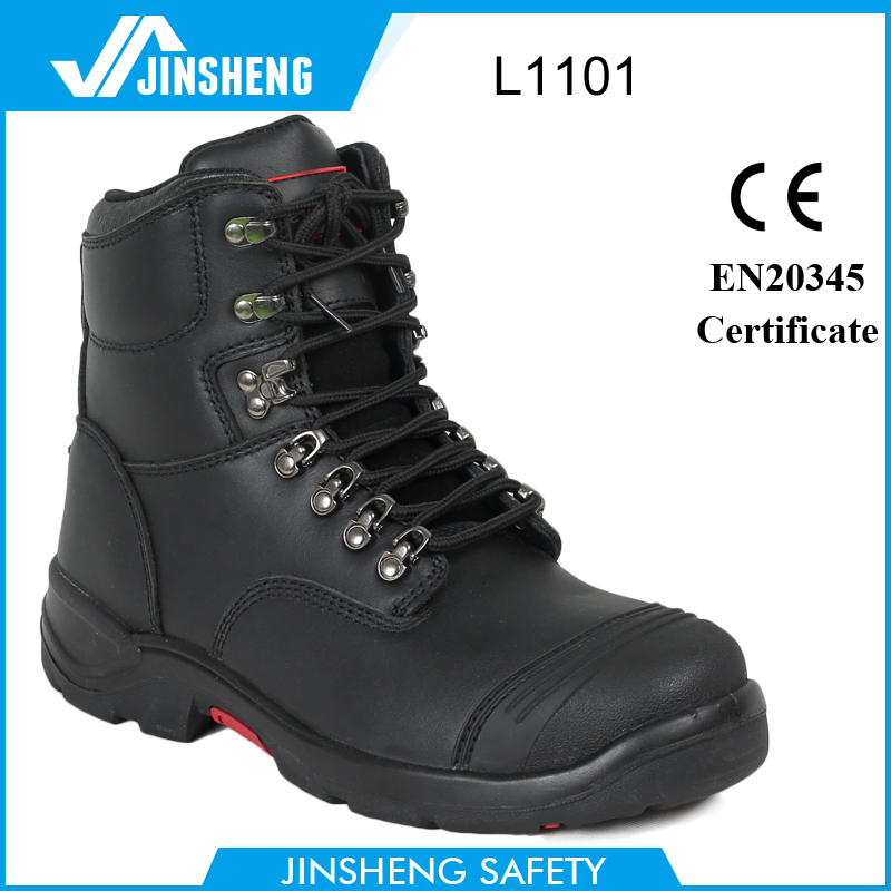 waterproof oil and gas black nubuck leather safety shoes