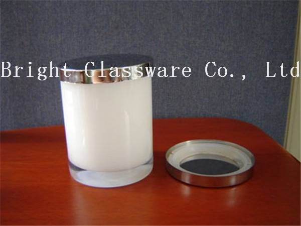 best design glass soy candle holder with metal lid sale