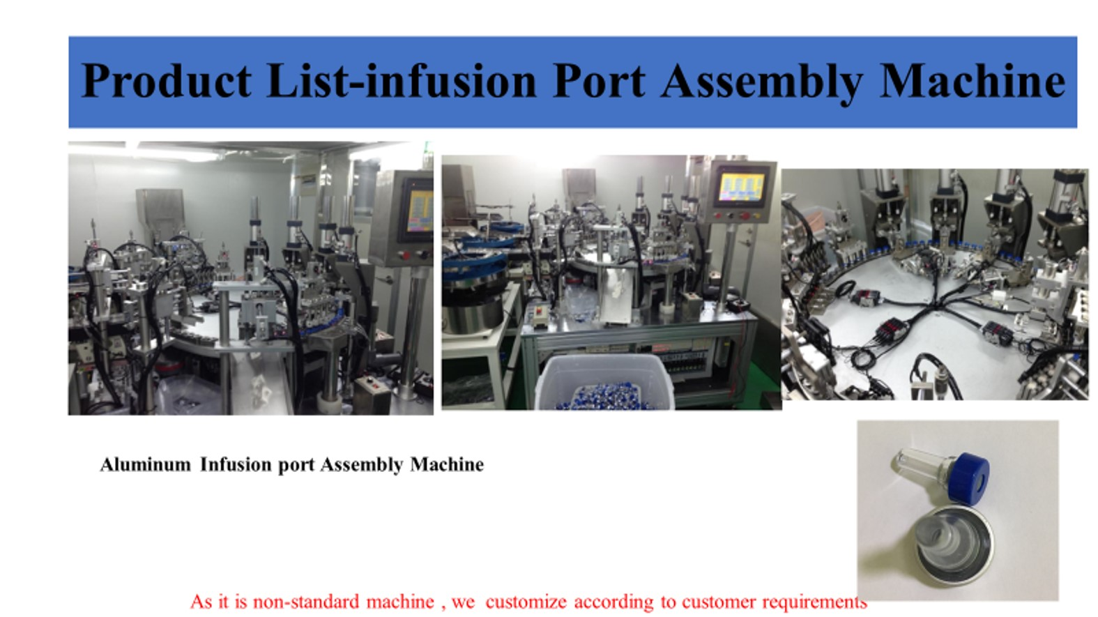 infusion port for IV bag assemble machine