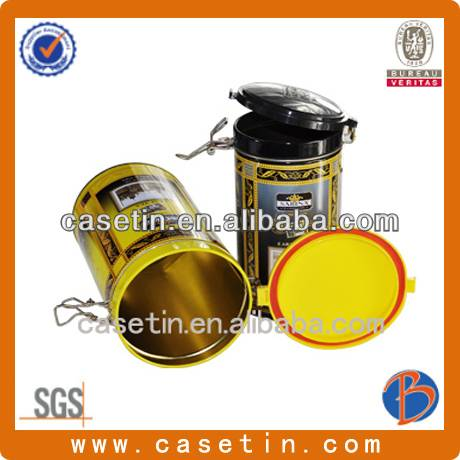 customized round tea packaging tin box with plastic lid