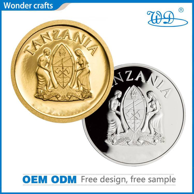 Top quality concave convex copper pure gold silver plating metal souvenir tanzania coins