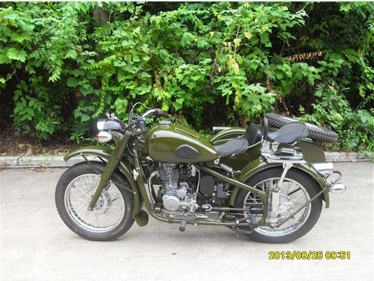 Changjiang 250cc Motorcycle With Sidecar with green color