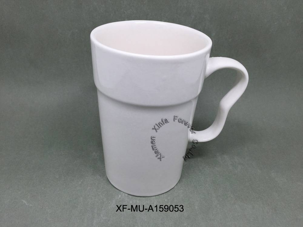 white blank ceramic mug with scissor handle, tube cup