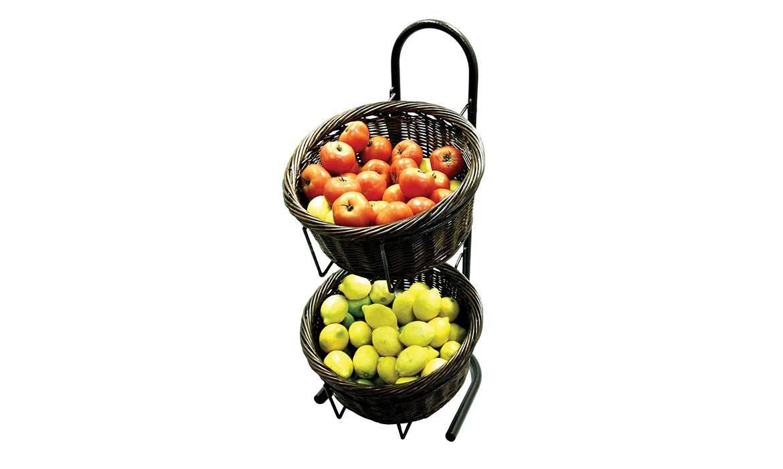 Basket Display Rack, 2 Tiers Willow Basket Fruits Display Rack