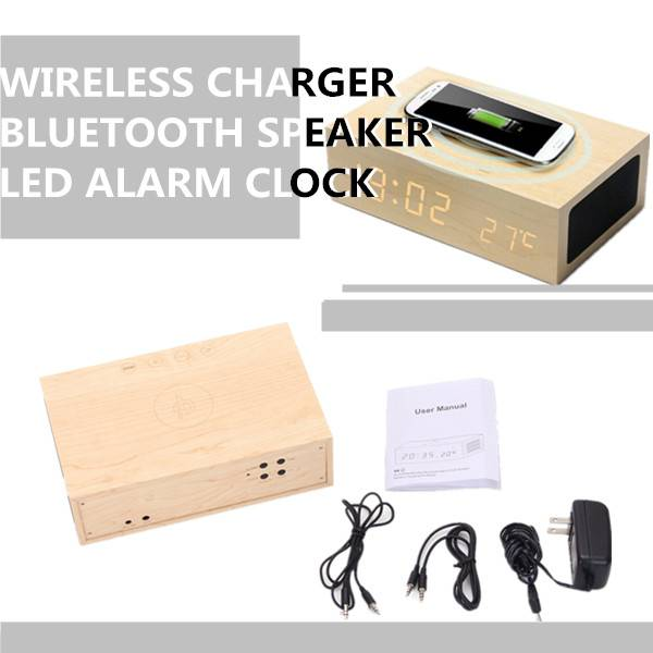 Bluetooth Connect Speaker LED Wood Clock Charger