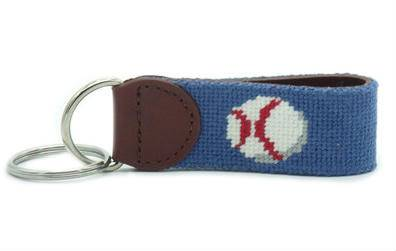 Handmade baseball blue needlepoint key fob with silver D ring
