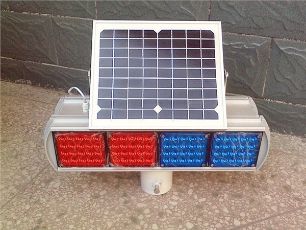 factory supply hot sale type bule and red flashing led solar strobe warning traffic light