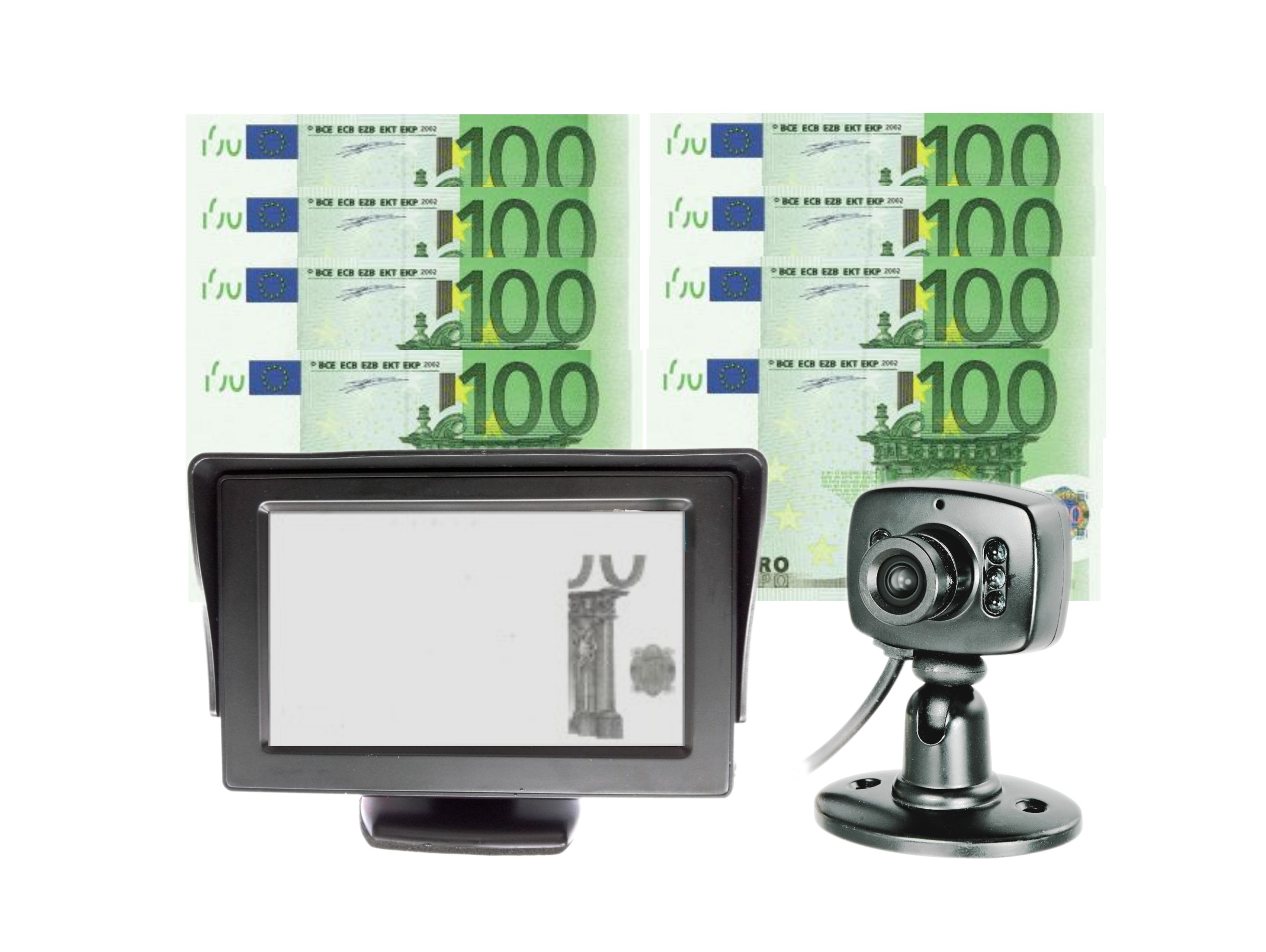 "4.3"" LCD Monitor IR Camera IR Money Currency Banknotes Detectors"