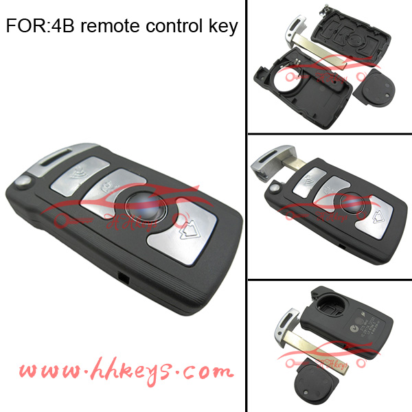 Car key 4 button BM 7 series smart card remote key case (work on the back)