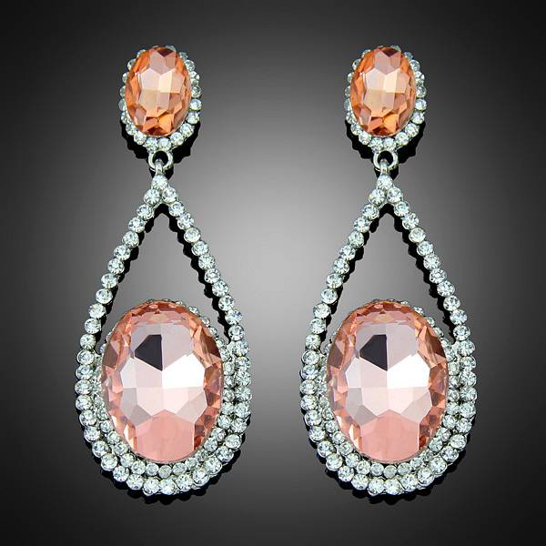 Fashion vintage trend rhinestone crystal water drop champagne earrings loyal style Bc014
