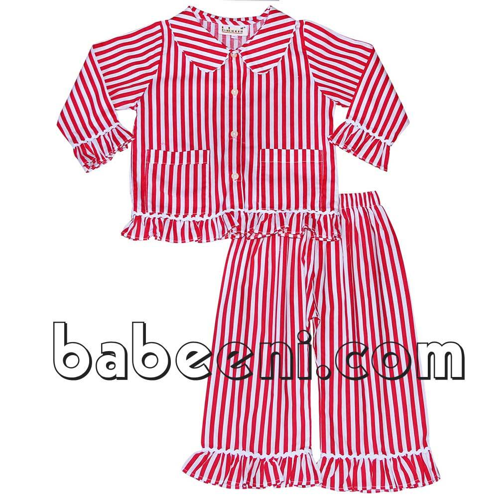 Red stripe girl pajamas - BB396