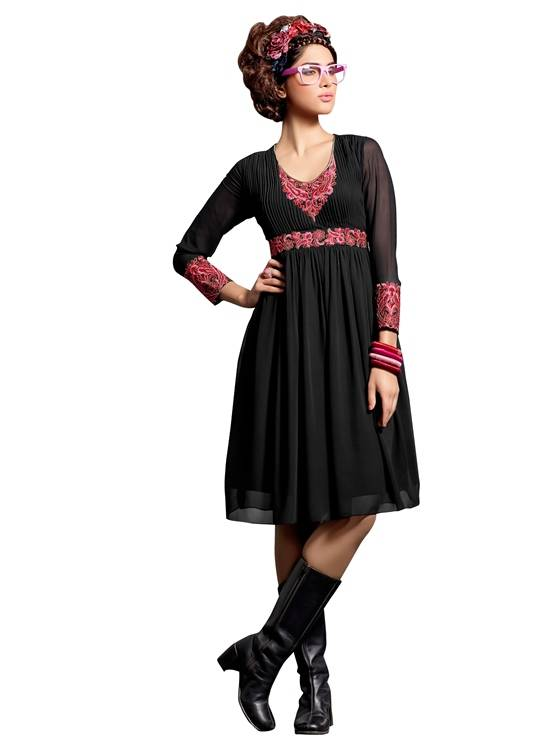 Shonaya Black Colour  Embroidered Georgette Stitched Kurti  MFHNR-60006