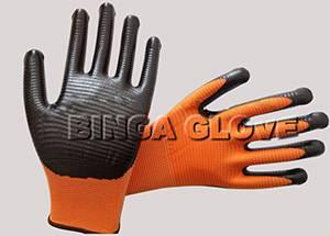 Orange Nitrile Coated 13G Polyester Safety Glove