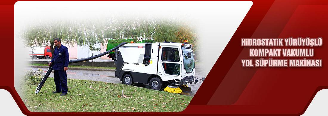 HYDRAUSTATICALLY DRIVEN COMPACT TYPE VACUUM ROAD SWEEPER