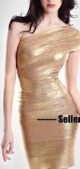 Wholesale One Shoulder Gold Bandage Dress Bodycon
