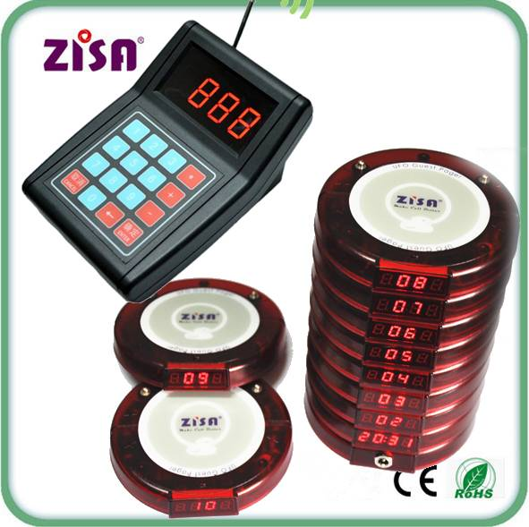 Top selling ZISA wireless waiter call paging system , guest coaster pager