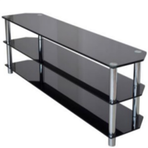 long style black glass tv stand