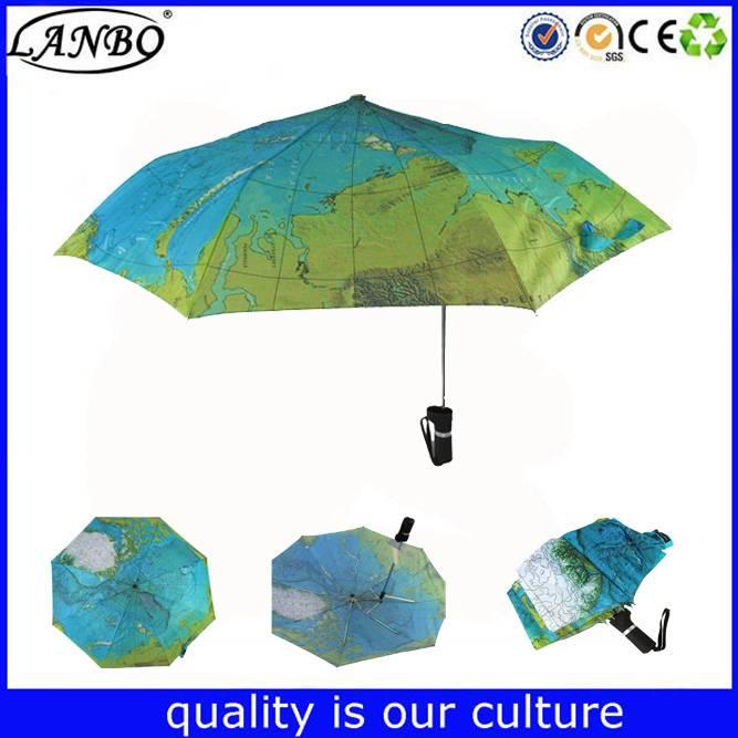 Manual open special folding umbrella in printing map world beautiful umbrella