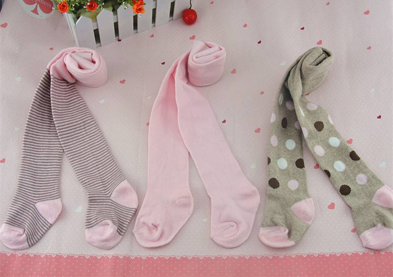 pink spotted kids tights girls'100% cotton pantyhose stripped