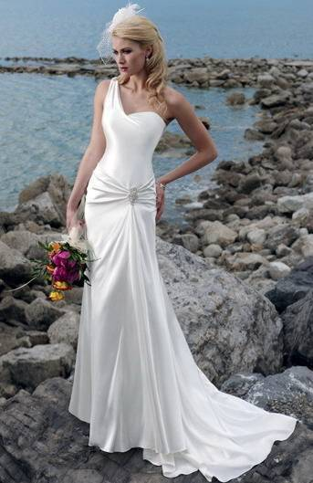 2011 White Sheath One Shoulder Chapel Train Elastic Satin Wedding Dress