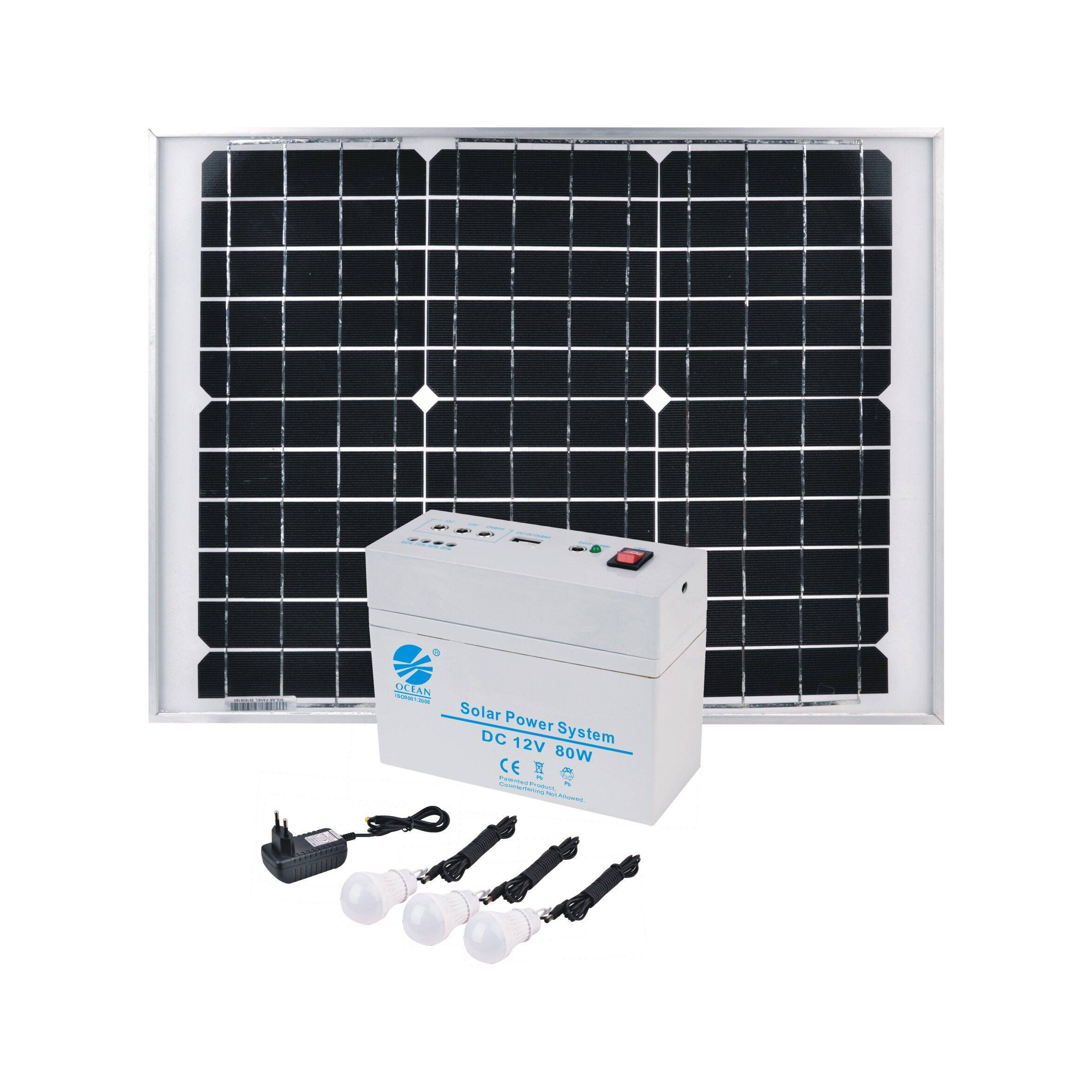 Mini portable solar energy system - DC 12V/80W/7AH