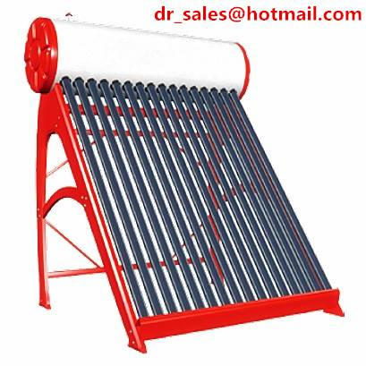 Solar water heater with heat pipes and 1.5mm galvanized steel frame, no pump required