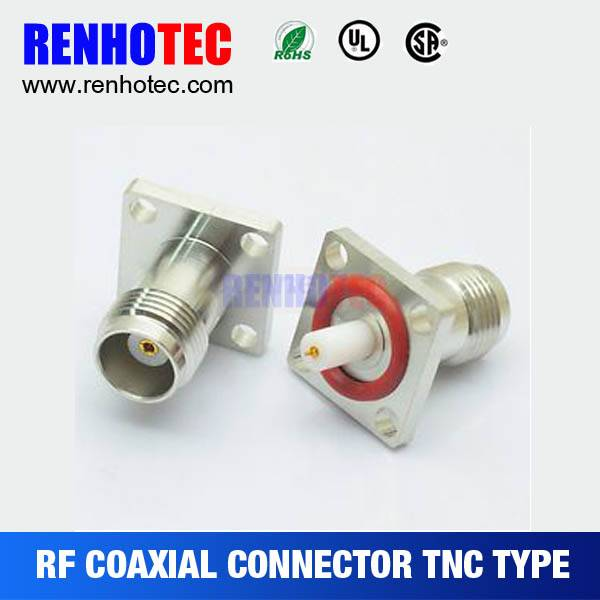 RF Coaxial TNC crimp female flange Four holes Connector