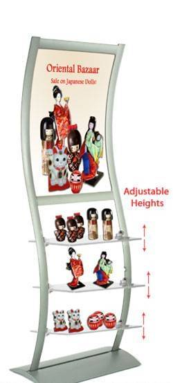 Merchandise Display: Includes Image Holder & Frosted Shelves