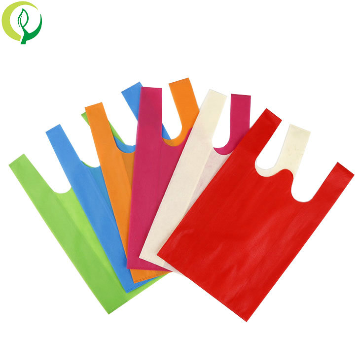 reusable non woven degradable grocery t-shirt bag for supermarket shopping use bags