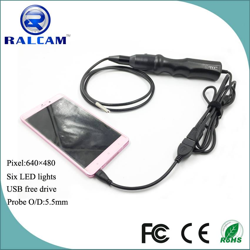Hot selling otg mobile phone android endoscope with 5.5mm camera head 1m/2m/3.5m/5m snake tube optio
