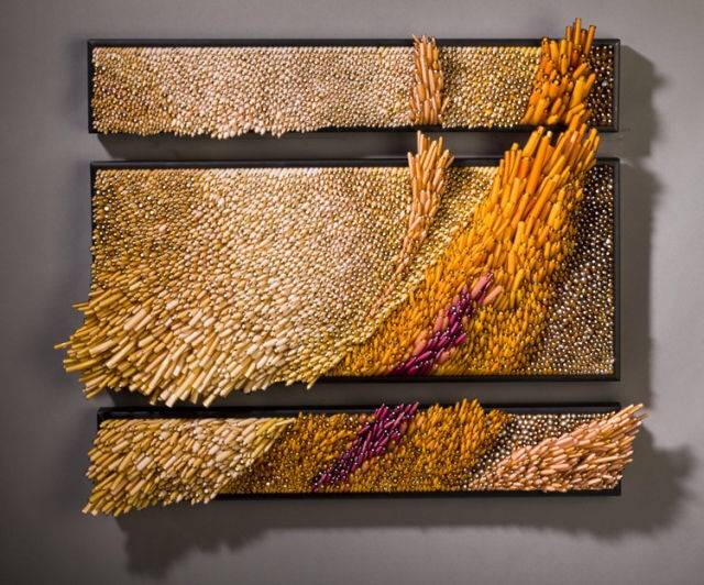 Modern decorative grass in the wind Hand blown glass sculpture wall art