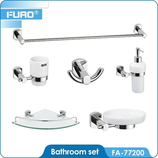Wall mounted brass chrome bathroom accessory set