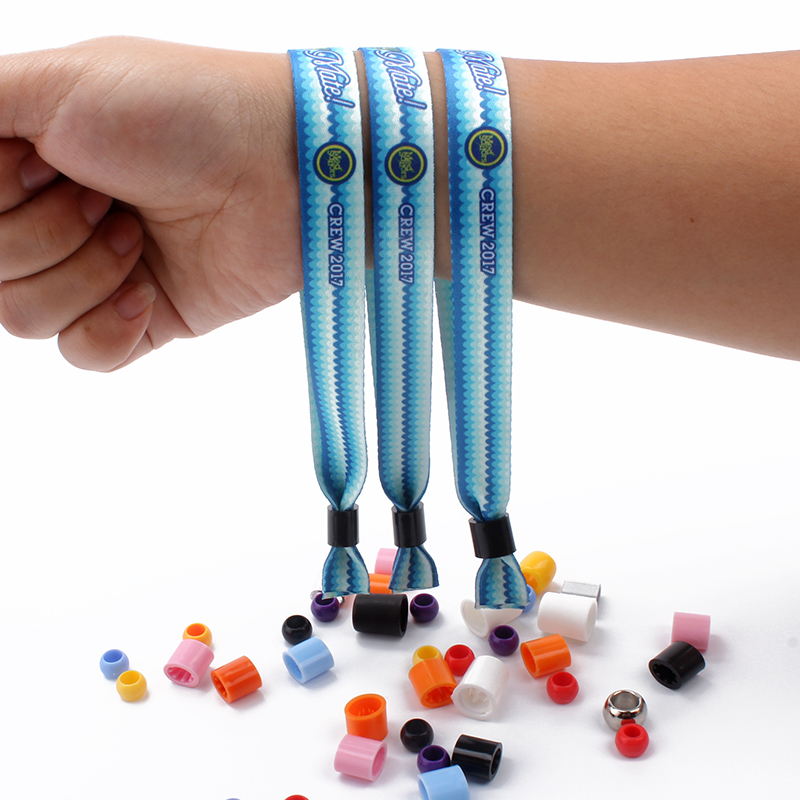 Festival woven wristband with metal tube or plastic uni-directly buckle