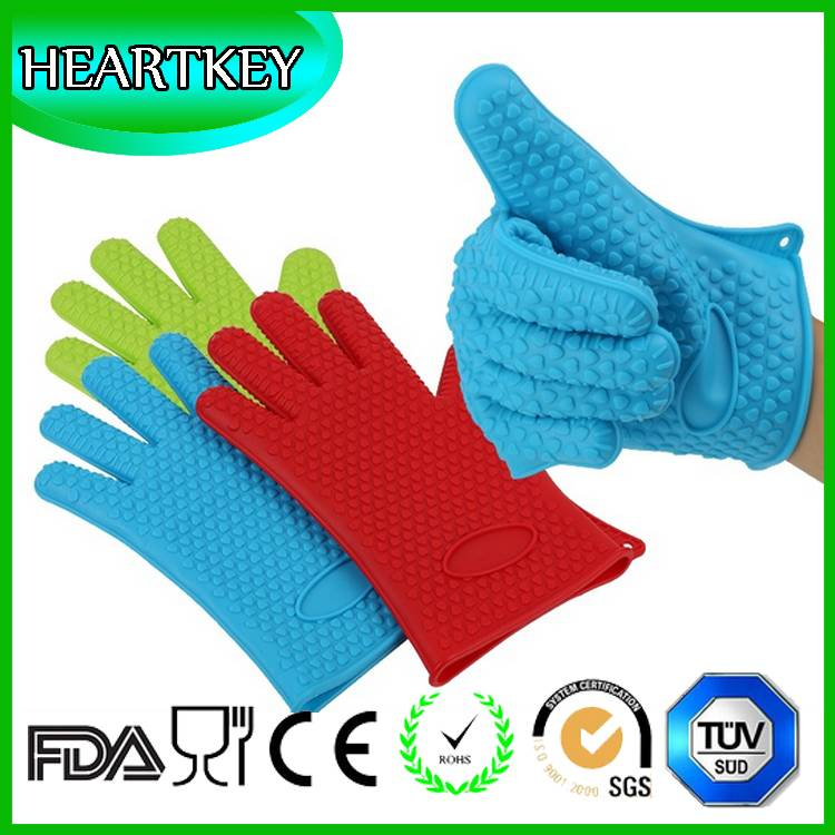 Private Label BBQ Heat Resistant Silicone Oven Gloves With Fingers