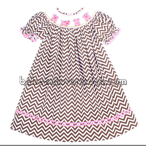 Cute pig smocked bishop dress - BB1033