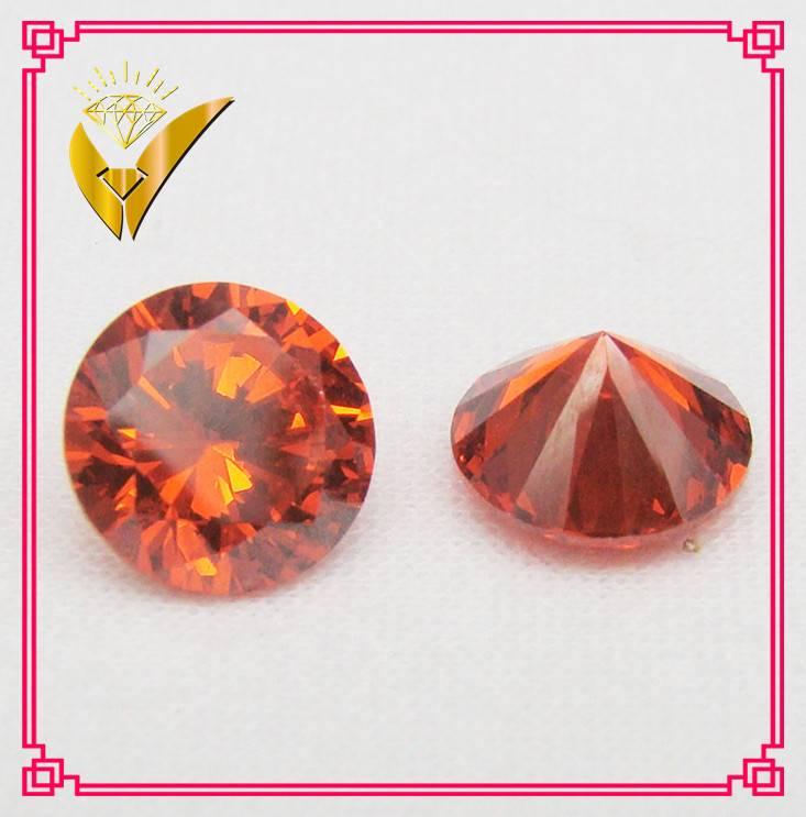 best price orange color round shaped cubic zirconia stone