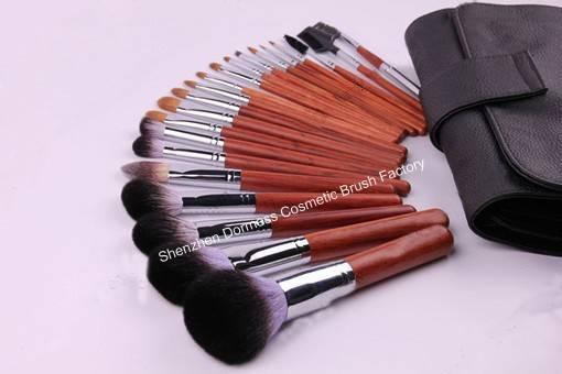 21-piece Professional Cosmetic/Makeup Brush Set, Hair: XGF goat,sable,pony,nylon hair, Wood Handle