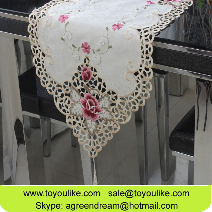 Elegant Jacquard Embroidered Cutwork Home Decor Table Runners Beige